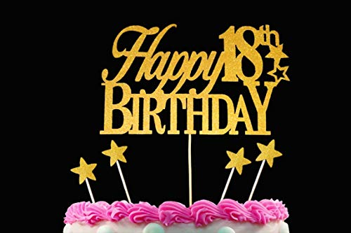 Happy 18th Gold Plus 4 Bonus Star Cake Toppers, Birthday, Anniversary Wedding 18 Years Old Decoration