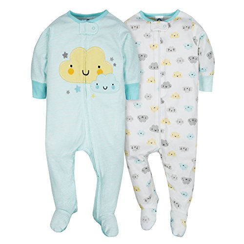 Gerber Baby Girls' 2 Pack Zip Front Sleep 'n Play,Clouds,NB