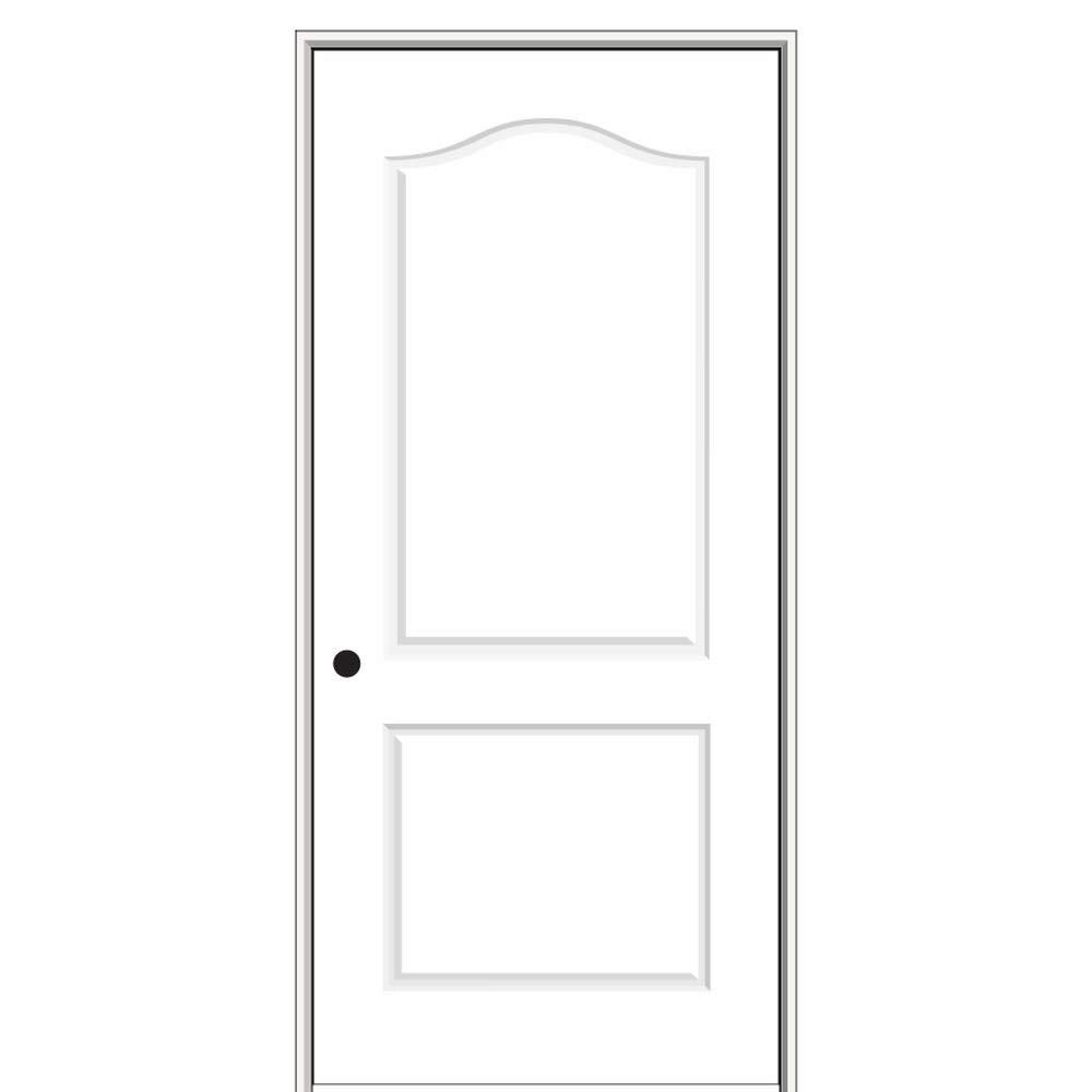 National Door Company ZZ09481R Solid Core Molded 2-Panel Arch Top, Right Hand Prehung Interior Door, 32