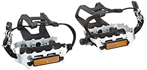 Diamondback 9/16-Inch Spindle Resin/Alloy Bicycle Pedals with Toe Clips and Straps, Black/Silver