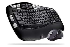Logitech Cordless Desktop Wave Pro - Teclado (RF inalámbrico, Negro, Laser, Alcalino, QWERTY, AA)