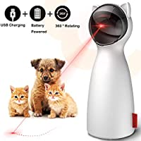goopow Cat Laser Toy Automatic,Interactive Toy for Kitten Dogs,USB Charging/Battery Powered, Placing High,5 Random Pattern,Automatic On/Off and Silent, Fast/Slow Light Flashing Mode