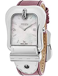 Fendi Women's 'B.' Swiss Quartz Stainless Steel and Leather Dress Watch, Color:Pink (Model: F380014571D1)