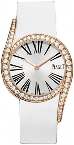 Piaget Candelero Gala Mujer Satén de blanco de la correa de cuero reloj de oro rosa Diamantes g0 a38161: Piaget: Amazon.es: Relojes