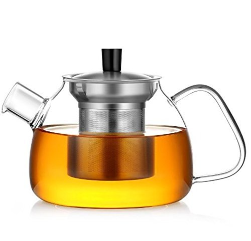 GONE Friendly Glass Teapot with Stainless Steel Infuser 900ml Clear Borosilicate