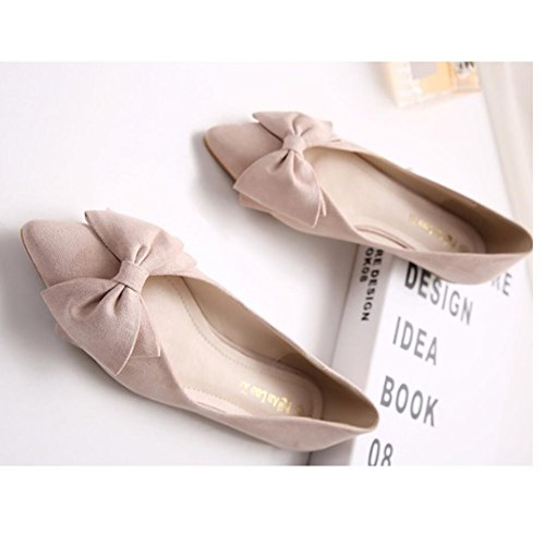 Shoes Comfortable Women's Toe Bow Pumps Point Meeshine Apricot Slip Flat On 05 zwqx5F54d