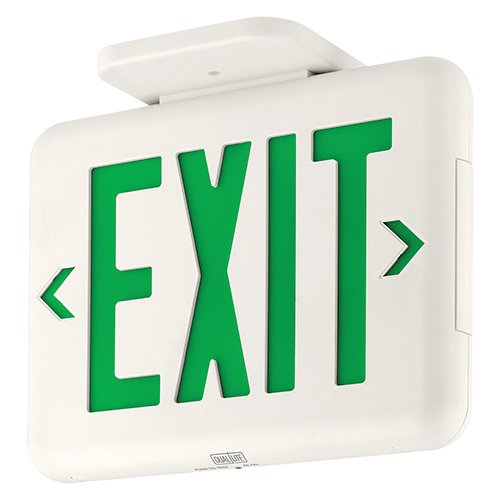 (Dual-Lite EVEUGW LED Exit Sign, Green Letters AC Only - White)