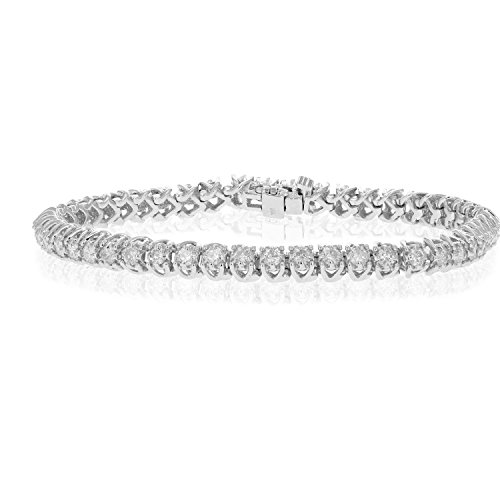 3 CT Diamond Bracelet Tennis Style 14K White Gold by Vir Jewels