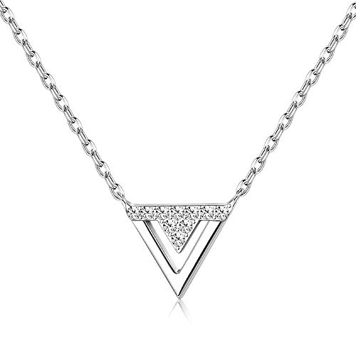 Sllaiss Sllaiss 925 Sterling Silver Triangle Pendant Necklace for Womens Girls Geometric Choker Necklace with CZ product image