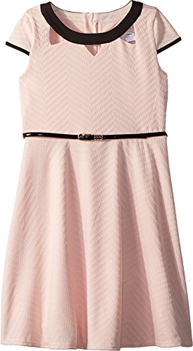 (US Angels Girl's Cap Sleeve Fit & Flare Textured Knit Dress with Cut Outs (Big Kids) Peach 10)