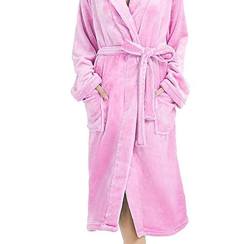 YKARITIANNA Women Soft Loose Comfy Nightgown, Winter Lengthened Plush Shawl Bathrobe Sleepweer Long Sleeved Belted Coat