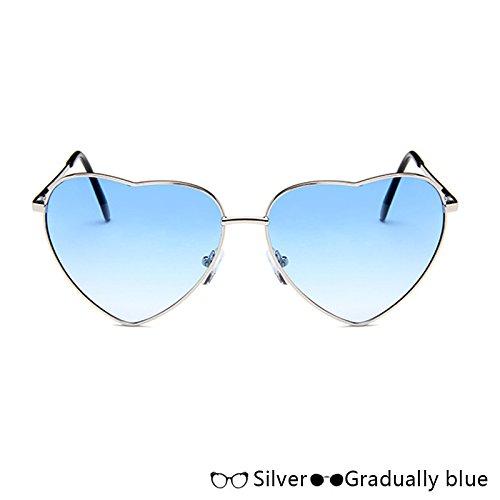 Sol W W De En Gafas Azul De Mujer blue De De Rosa Corazón Sol Lujo Gafas Forma Atrás De Moda TIANLIANG04 Oro Silver HnF1EPqw