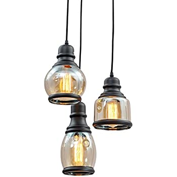 Unitary Brand Antique Black Shade Glass Jar Pendant Light Max 120W With 3 Lights Painted Finish  sc 1 st  Amazon.com & UNITARY BRAND Vintage Large Glass Jar Pendant Light Max 300W With ... azcodes.com