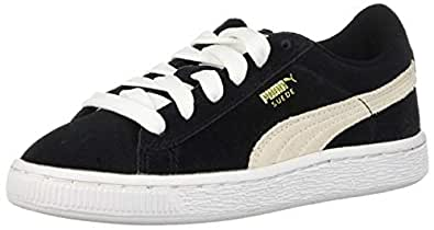 PUMA Suede Junior Sneaker (Little Kid/Big Kid), Black/White, 1.5 M US Little Kid