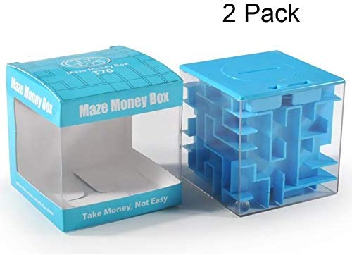MooToys Money and Gift Card Maze Puzzle Box Cool Brain Teasers for Kids Blue Boys Perfect Gag Gifts Girls Teens and Adults
