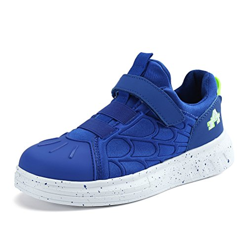 AFFINEST Boys Girls Running Shoes Kids Athletic Walking Sport Skate Sneakers Soft Lightweight School Footwear with Strap for Road Cross Trainers(Blue,29)