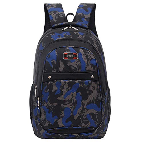 vermers Back to School Backpack for Teen Girls&Boys Fashion Casual Camouflage Printing Students Bags - Dark Blue by vermers