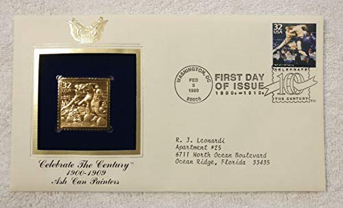 (Ash Can Painters - Celebrate the Century (The 1900s) - FDC & 22kt Gold Replica Stamp plus Info Card - Postal Commemorative Society, 1998 - Stag at Sharkey's by George Bellows, Boxing, American Art, Everyday Views of Urban Scenes & City Life, Artists )
