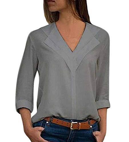 lgant Femmes Couleur Unie Soie Longues v col en Mousseline en Tops Shirt Blouses Gris de pour Manches EC75w0q