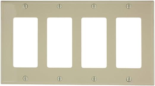White Device Mount Standard Size Leviton 80412-W 4-Gang Decora//GFCI Device Decora Wallplate Thermoset