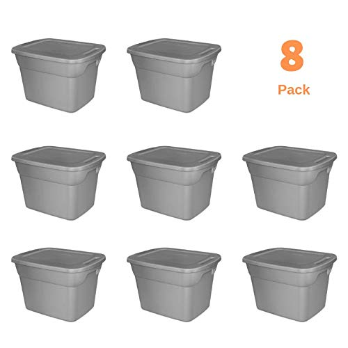 Storage Tote Box with Lid & Handles Plastic Bin Containers Case of 8, 18 Gallon Capacity, for Closet Desk Shelves Clothes Books, Air Tight, Steel/Gray ()