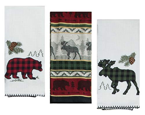 - 3 Cabin Lodge Themed Decorative Cotton Kitchen Towels Set with Bear and Moose Print | 2 Applique Tea Towels and 1 Jacquard Tea Towel for Dish and Hand Drying | by Kay Dee Designs