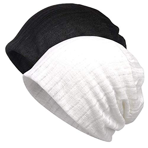 (Jemis Women's Chemo Hat Beanie Scarf Liner for Turban Hat Headwear for Cancer (2 Pack Black & White))