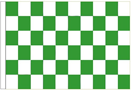 Green and White Check Sleeved Flag 3'x2' (90cm x 60cm) - Woven Polyester ()
