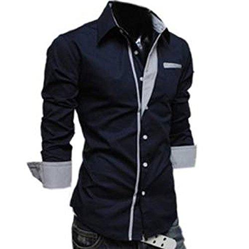 2014 Mens Sexy Shirts Fashion Slim Fits Shirts Long Sleeve Shirts,X-Large,Navy Blue (Sexy Fancy Dress Men)