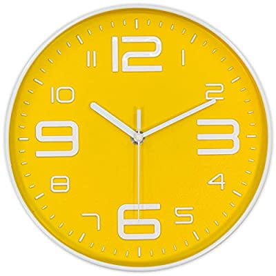 45Min 10-Inch 3D Number Dial Face Modern Wall Clock, Silent Non-Ticking Round Home Decor Wall Clock with Arabic Numerals, 7 Color Dial Face (Yellow) - Silent Non-ticking,quiet sweep and precise movements to guarantee accurate time and ultra-quiet environment. Round in shape, Modern Industrial Style with large 3D white numbers, Yellow dial face guarantee good view. Sturdy plastic case and Flat glass lens, makes it easy to clean and keeps dust away from dial. - wall-clocks, living-room-decor, living-room - 41Z2aKcejxL. SS400  -