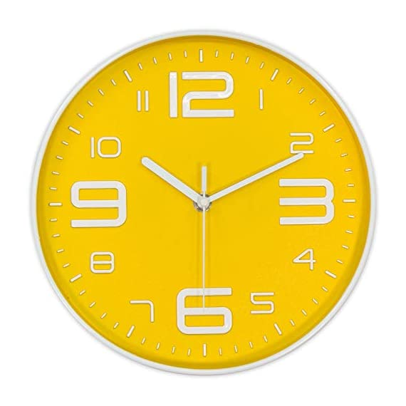 45Min 10-Inch 3D Number Dial Face Modern Wall Clock, Silent Non-Ticking Round Home Decor Wall Clock with Arabic Numerals, 7 Color Dial Face (Yellow) - Silent Non-ticking,quiet sweep and precise movements to guarantee accurate time and ultra-quiet environment. Round in shape, Modern Industrial Style with large 3D white numbers, Yellow dial face guarantee good view. Sturdy plastic case and Flat glass lens, makes it easy to clean and keeps dust away from dial. - wall-clocks, living-room-decor, living-room - 41Z2aKcejxL. SS570  -