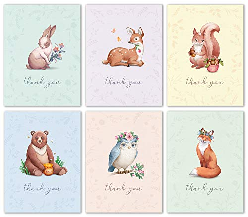 Thank You For Baby Shower (Woodland Animal Thank You Cards Bulk Box Set of 48 Blank Cards with Envelopes - Baby Shower Note Cards, Wedding Thank You Cards or Bridal Shower Thank you)