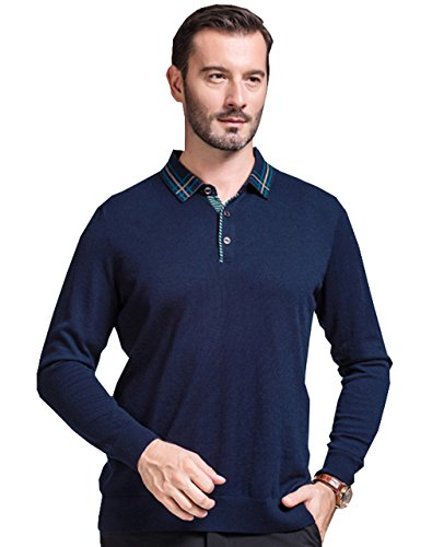UNbox Mens Pure Wool Buttoned Down Neck Knitted Stand Collar Pullover Sweater L by UNbox