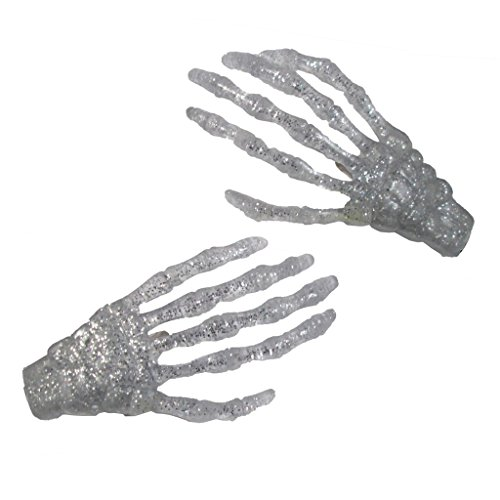 Silver Glitter Skeleton Hands Hair Clip Halloween Horror Accessory Kreepsville