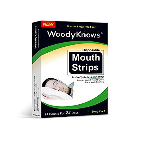 (Anti Snoring Sleep Strips, Advanced Mouth Tape Mouth Strips by WoodyKnows, Lead to Nose Breathing, Improve Sleeping Quality, Reduce Mouth Breathing, Lessen Dry Mouth & Sore Throat, Pack of 24)