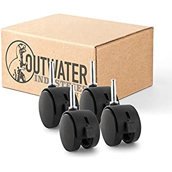 Outwaters Premium 2-3//8 inch Heavy Duty Nylon 6 Gusset Reinforced Caster Wheels HERC-14-BK with 7//16 x 1-3//8 Friction Stem Without Brake Swivel Radius of 2-3//16 inch