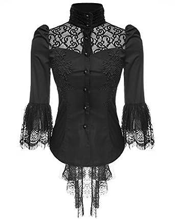 08f96a170c4a1 Punk Rave Womens Blouse Top Black Lace Gothic Steampunk VTG ...