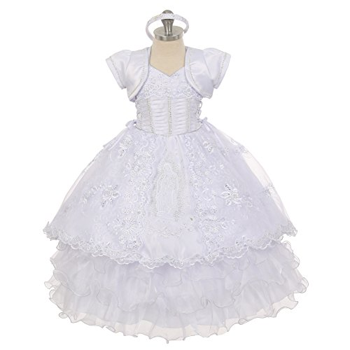 The Rain Kids Baby Girls White Virgin Mary Ruffle Detachable Baptism Dress 6-9M by The Rain Kids