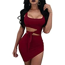 GOBLES Womens Sexy Bodycon Cut Out Sleeveless Outfit Mini Club Tank Dress