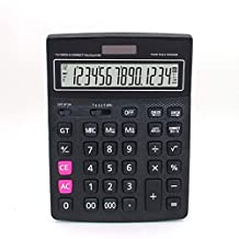 Electronic Desktop Calculator with 14 Digits Large Display Battery Or Solar Power Supply Office Calculator (Black,Not Include Battery)