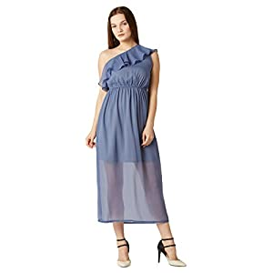 Miss Chase Women's Blue One-Shoulder Ruffled Midi Dress
