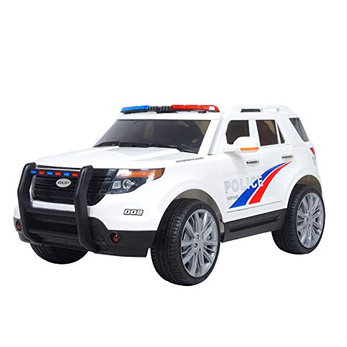 (Uenjoy 12V Kids Police Ride on Car Electric SUV Car Battery Powered Motorized Vehicles W/ Remote Control, 2 Speeds, AUX, Sirens, LED Light, White)
