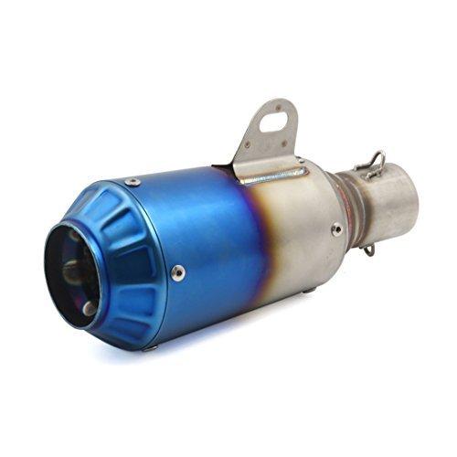 DealMux 51mm entrada gris azul granada de escape en forma de tubo Silenciador Silenciador para la calle Moto Dirt Bike: Amazon.es: Coche y moto