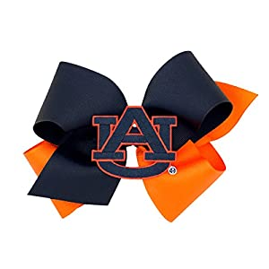 Wee Ones Two Tone Collegiate Girl's Hair Bow with Patch, Multiple Size Bows, 30+ Colleges