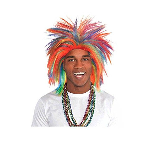 Crazy Color Clown Costumes For Kids (Game Ready Team Spirit Party Crazy Wig Accessory, Rainbow, Synthetic Hair , One size)