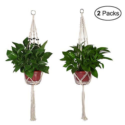 - CGBOOM Plant Hanger, 2 Pack 41.7 inch Handmade Flower Plant Pot Holder, Macrame Hanging Planters for Indoor Outdoor Decoration