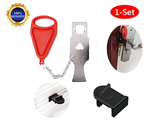 ((1 Set) Portable Door Lock for Travel, School Lockdown Lock(1 Set))