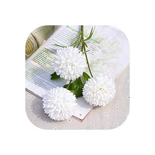 (YA-HAN 3 Heads Dandelion Artificial Flower Silk Pompon Chrysanthemum for Wedding Home Decoration Fake Flowers Fabric Flowers,White )