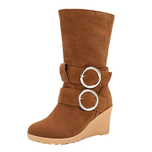 Women's Buckle Mid-Calf Boots - Casual Slip-On Wedges High Heels Long Boots Winter Warm Faux Fur Lined Snow Boots (Brown, US:8) ()