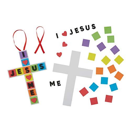 I Love Jesus Cross Foam Religious Craft Kit for Kids, Pack of 24